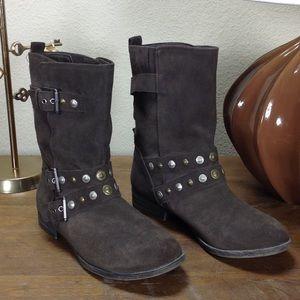 Crown Vintage Brown Suede Motorcycle Boots